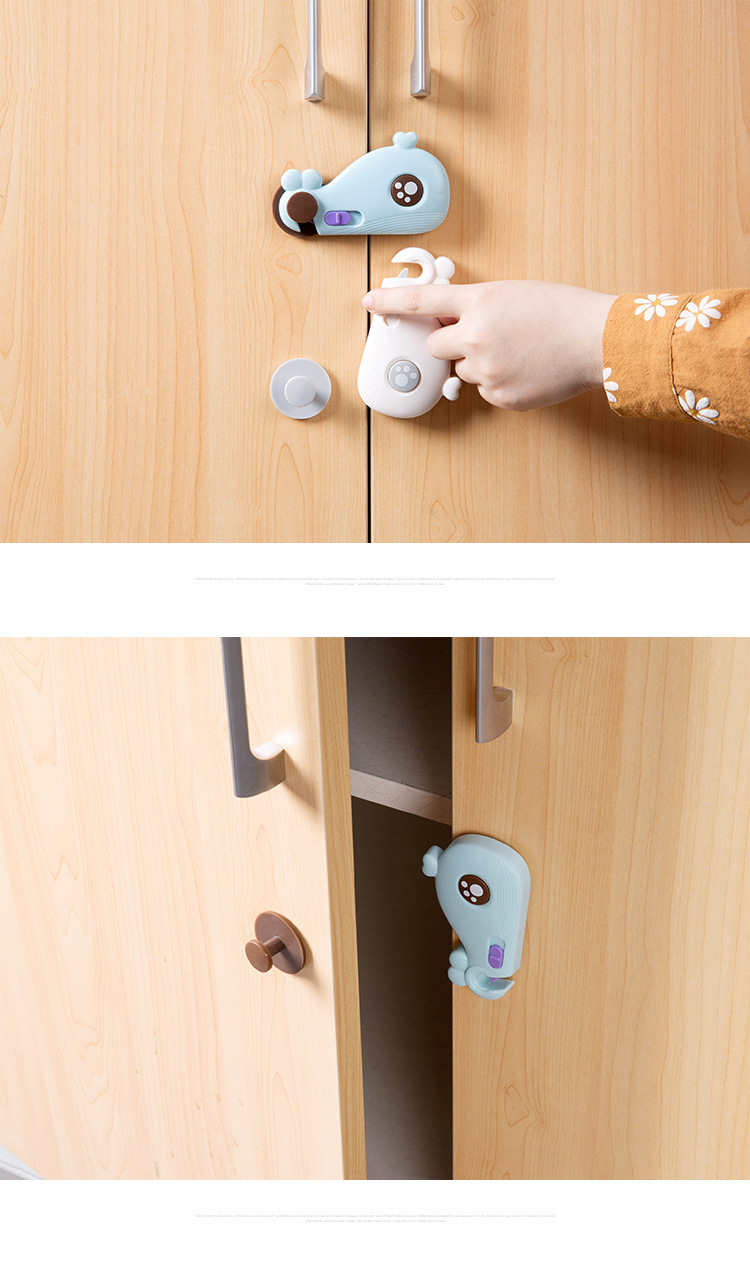 0662639e33fef 3PCs Baby Security Lock Children Protection Kids Drawer Cabinet Lock Baby  Safety Whale Shape Refrigerator Childproof Tool