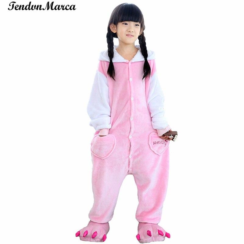 2017 Spring Autumn Cartoon Baby Boys Girls KT cat pajamas Flannel Animal Pajamas Kid Pajama sets Onesies Children Clothing