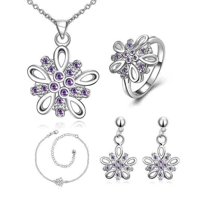 Free Shipping NEW!! silver jewelry sets Crystal flower cluster necklace + ring + earrings  Sets for women oso FSPS004