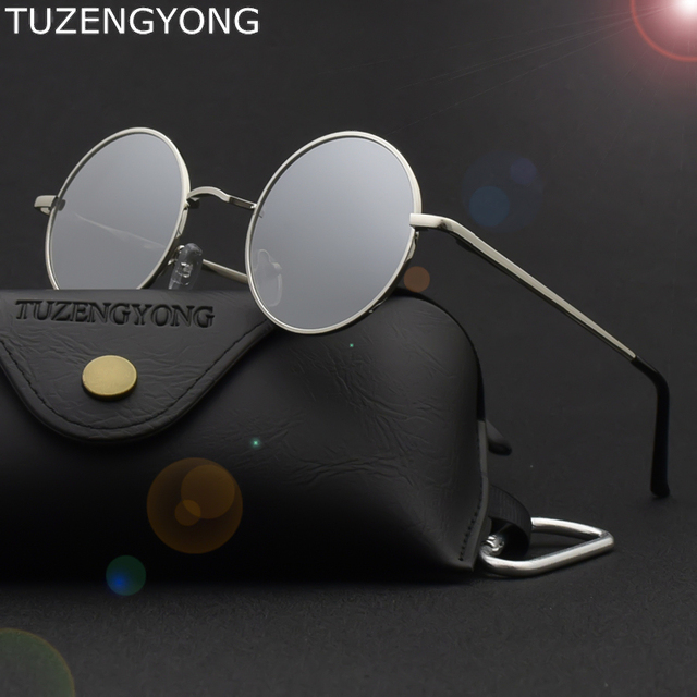 dcfe0623f13 Tmall Brand Designer Classic Round Sunglasses Men Women Polarized Metal  Small Frame Retro Steampunk Sun Glasses