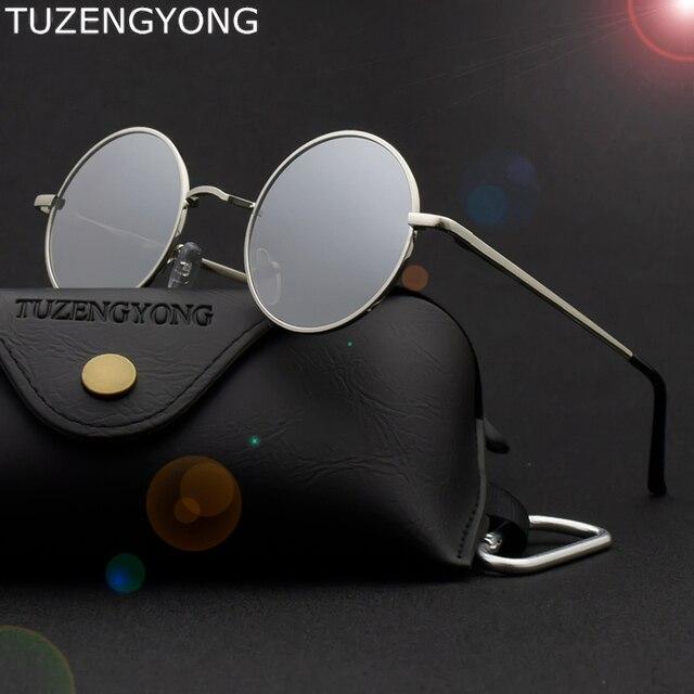 Tmall Merek Desain Bulat Klasik Kacamata Hitam Pria Wanita Terpolarisasi  Logam Bingkai Kecil Retro Steampunk Berjemur c6dffaf92b