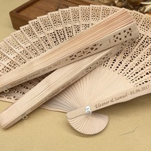 50pcs/ lot personalized sandalwood folding hand fans wedding party giveaways favours fan with organza bag lin2996