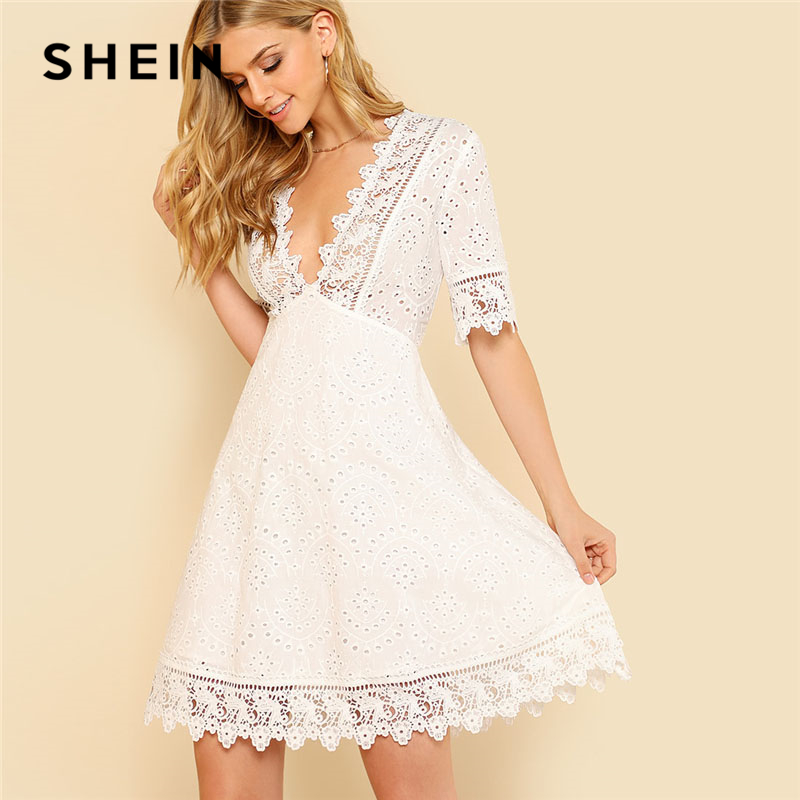 SHEIN Lace Trim Eyelet Embroidered Dress Women White Deep V Neck Half Sleeve Cut Out Plain Dress 2018 Summer Sexy Cotton Dress pearl beading eyelet embroidered cuff tiered dress