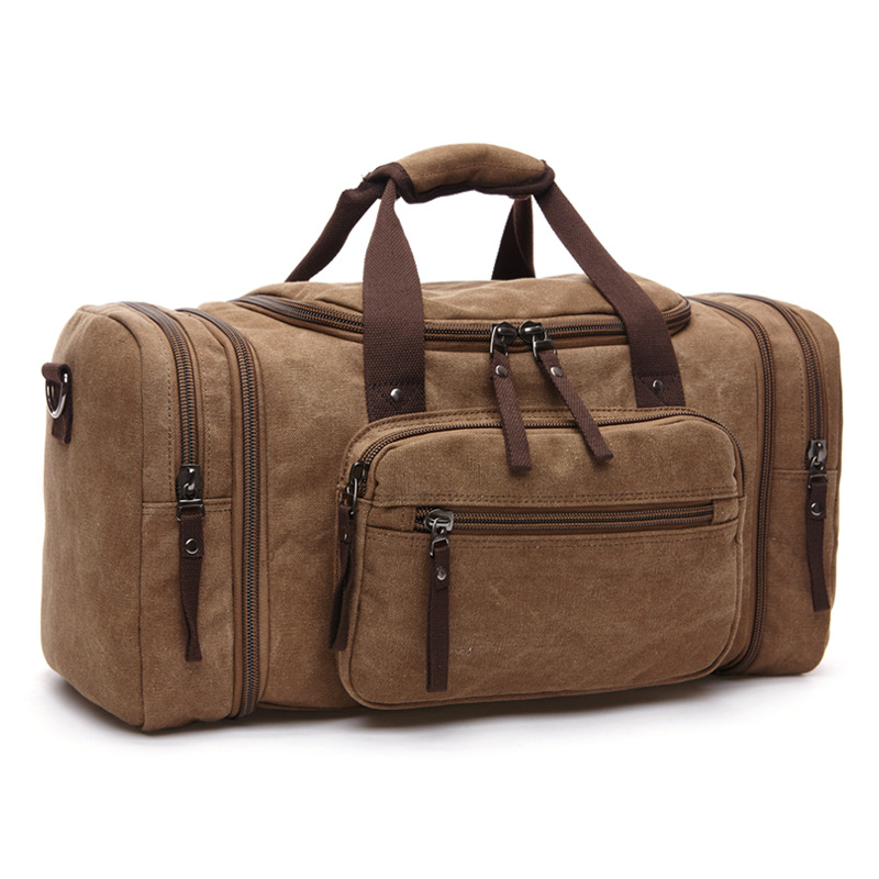 Large Capacity Men Travel Bag Designer Duffle Luggage High Quality Canvas Bags Big Portable Bag With Pocket Brown Travel Bags