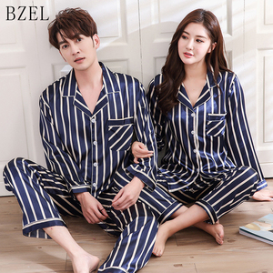 Image 1 - BZEL Couple Pajama Sets Silk Satin Pijamas Striped Sleepwear His and her Home Suit Pyjama For Lover Man Woman Lovers Clothes
