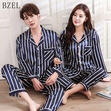 Bzelカップルパジャマセットシルクサテンpijamasストライプパジャマ彼 · アンド · 彼女ホームスーツパジャマ恋人のための男女性愛好家の服