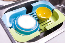 2pcs New Brand Fashionable Candy Color Scalable Dish Rack Kitchen Shelf Vegetable Drain Grid Kitchen Tool Free Shipping