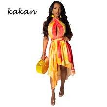 Kakan halter sexy pendurado no pescoço topless vestido das mulheres verão 2019 new best selling moda costura vestido estampado