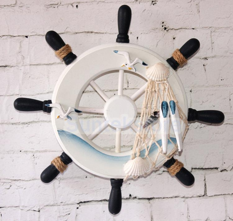 9 Beach Wooden Boat Ship Steering Wheel Fishing Net Home Wall Decor 3 In Figurines Miniatures From Garden On Aliexpress Alibaba Group