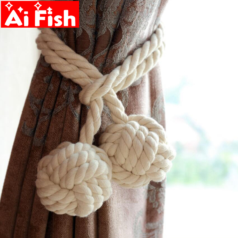 Colorful Handmade Cotton Hemp Knitted American Curtain Accessories Tied Rope Curtain Buckle Strap For Room Curtains CP062#20