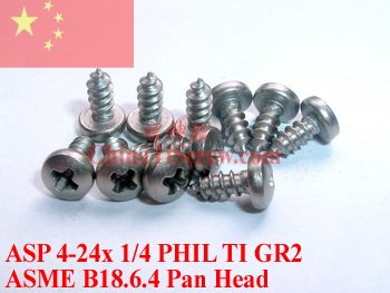 Titanium screws 4-24x 1/4 Pan Head PHIL Driver Self Tapping Ti GR2 Polished 50 pcs