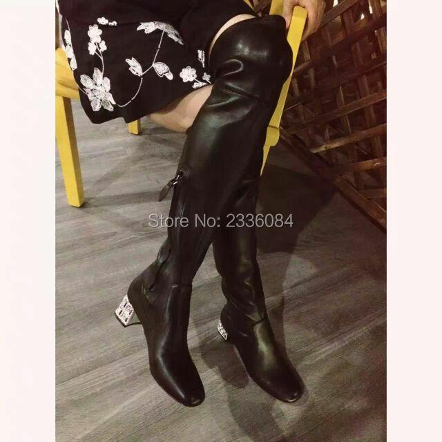 2017 Fashion Brand Luxury Women Suede Stretch Elastic Over The Knee Boots Sheepskin Med Heel Female Winter Shoes Rhinestone Heel