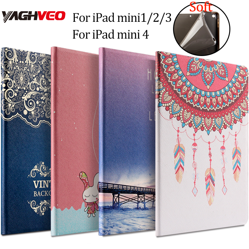 все цены на Tablet pc protective case for ipad mini 1/2/3/4 PU leather Fashion Printed Soft back 7.9 inch cover Flower Girl Cartoon case