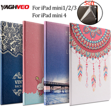 Tablet pc protective case for ipad mini 1/2/3/4 PU leather Fashion Printed Soft back 7.9 inch cover Flower Girl Cartoon case