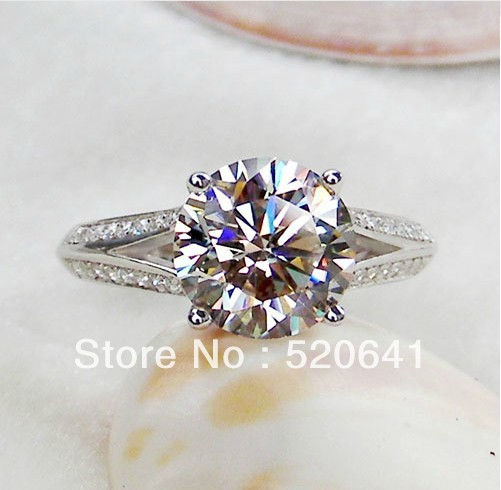 Wholesale 3CT White Gold Color Engagement Ring Round Stone Jewelry Wedding Ring for Women 925 Silver