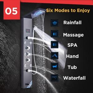 Image 5 - Geborsteld Nikkel Roestvrij Staal 6 Functies Waterval Regendouche Panel W/Massage Systeem Bad Uitloop En Handdouche Douche kolom