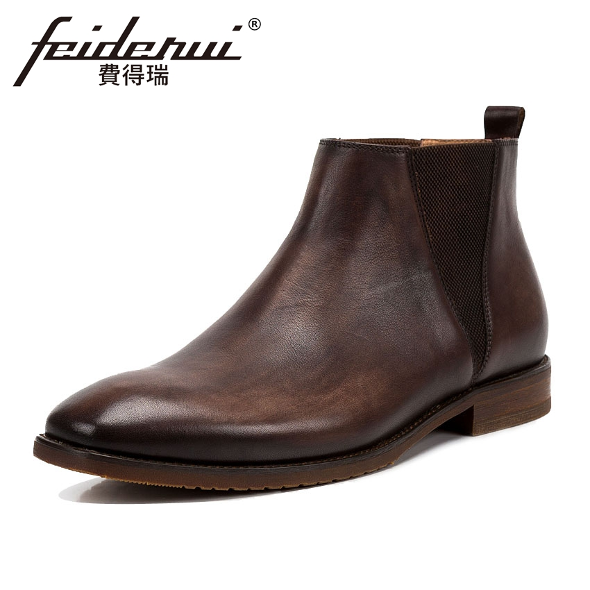 New Arrival Genuine Cow Leather Mens Chelsea Ankle Boots Vintage Round Toe Handmade Cowboy Riding Dress Shoes For Man KUD52New Arrival Genuine Cow Leather Mens Chelsea Ankle Boots Vintage Round Toe Handmade Cowboy Riding Dress Shoes For Man KUD52