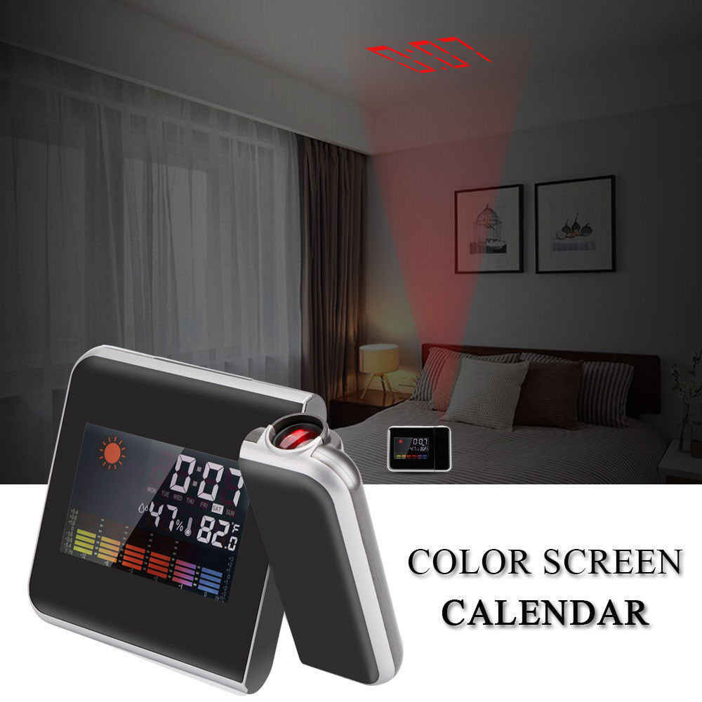 Multi Function Digital Alarm Clocks Color Screen Desktop Clock Display Temp Calendar Time Projection For Gift And Home Decor