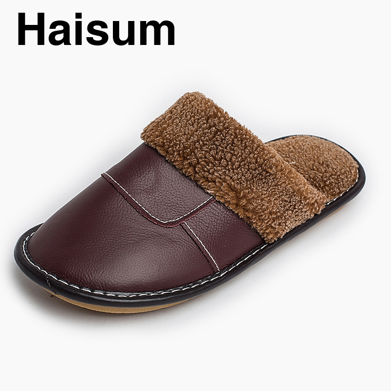 Men 's Slippers Winter genuine Leather Home Indoor Non - Slip Thermal Slippers 2018 New Hot Haisum Tb001 men s slippers winter pu leather home indoor non slip thermal slippers 2018 new hot haisum h 8007