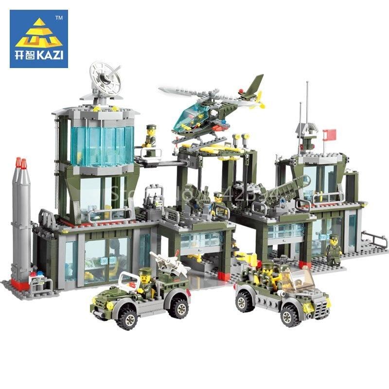 KAZI Army Headquarter Car Helicopter DIY Model Building Kits Blocks Brick Educational Toys For Children Festival Friends Present