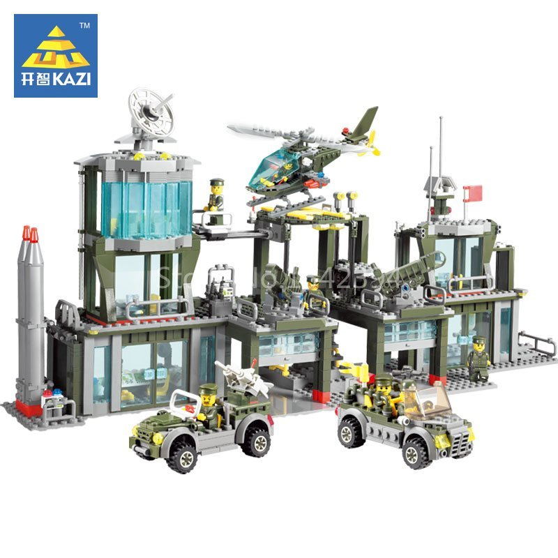 KAZI Army Headquarter Car Toy Educational Building Bricks Construction Blocks Plastic Model Kits Set Gift Toys For Children DIY new original kazi 6409 city truck model building blocks sets 163pcs lot deformation car bricks toys christmas gift toy sa614
