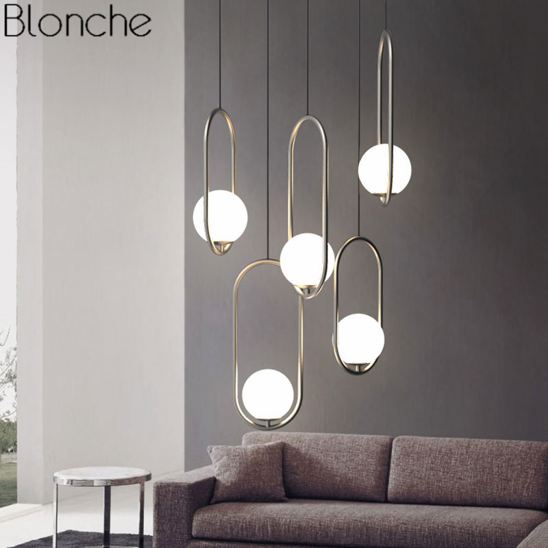 Ceiling Lights & Fans Modern Led Chandelier Restaurant Fixtures Glass Ball Luminaires Nordic Hanging Lights Bedroom Lighting Living Room Pendant Lamps Lights & Lighting