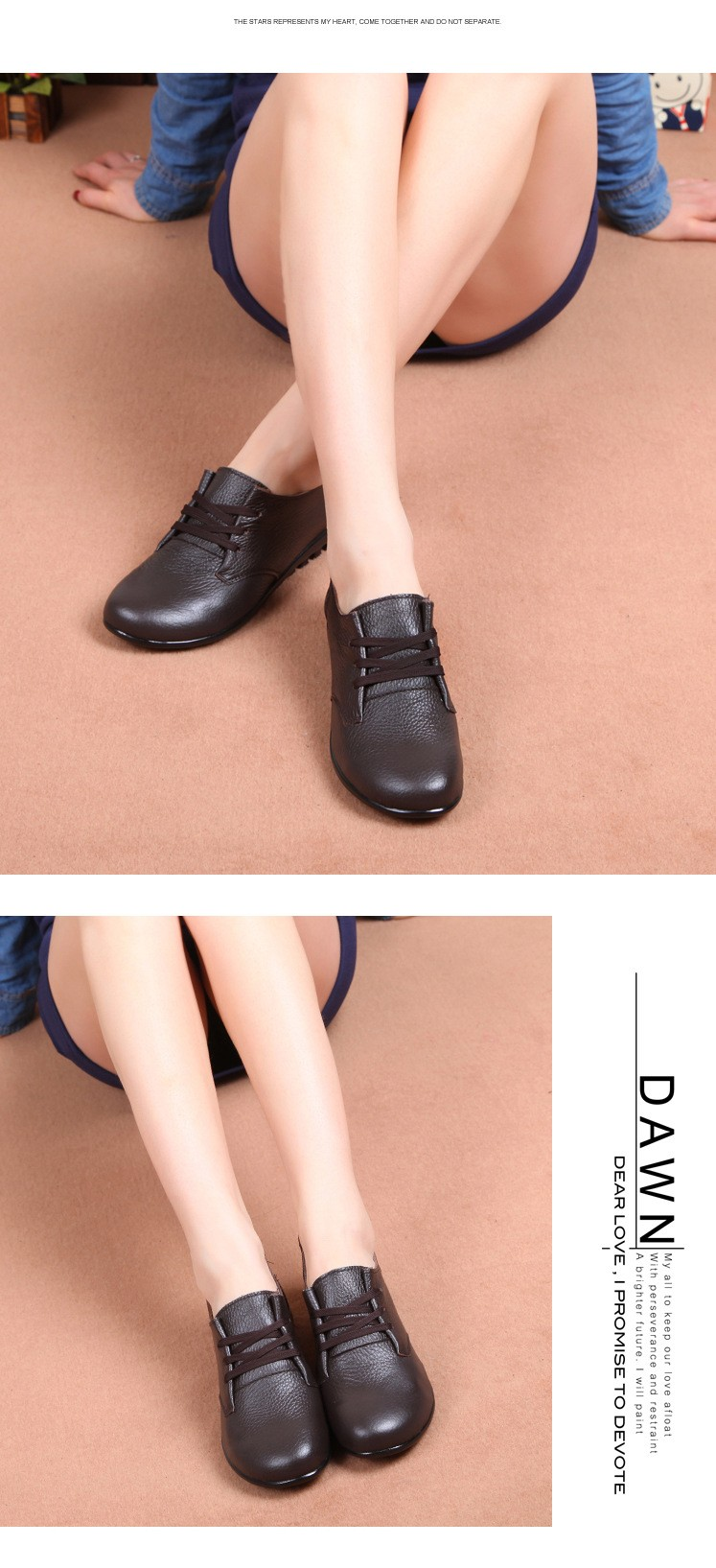 women shoes new genuine leather mother shoes casual lace up flats shoes woman moccasins ballets flats zapatas mujer 2016 DT188 (3)