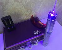 Наиболее высокое Мощность 450nm Синий лазерная указка Pen Регулируемый Видимый луч фокус сжечь бумагу горит сигареты древесины + коробка