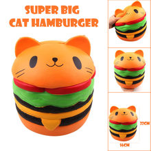 Squishy Jumbo Cute Super Big Cat Hamburger Stress Reliever Scented Slow Rising Squish Squeeze Antistress Toys Funny Kids Gadgets(China)