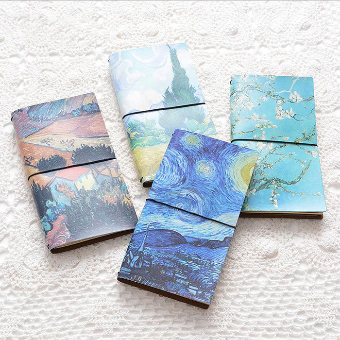 Van Gogh PU Leather Cover A5 Sketchbook Bullet journal Cute Notebook paper Weekly Planner Accessories Stationery Diary 01707 все цены