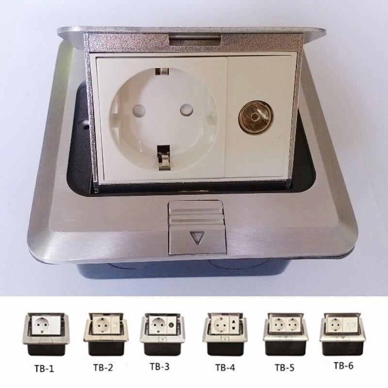 Prise de sol européenne avec données TV connecteur USB en aluminium matériau argent couleur pieu de terre livraison gratuite