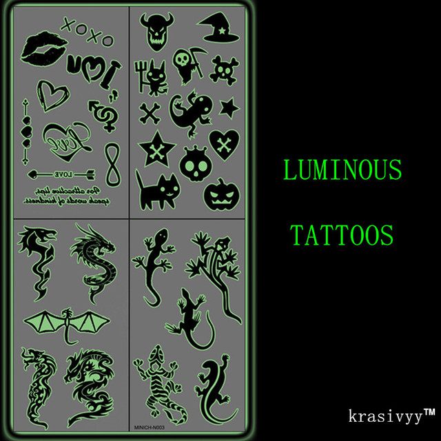 2017 zwart-wit lichtgevende Tatoeages stickers Body Art glow metallic tattoo tijdelijke Flash tatoeages glow in dark party tattoo