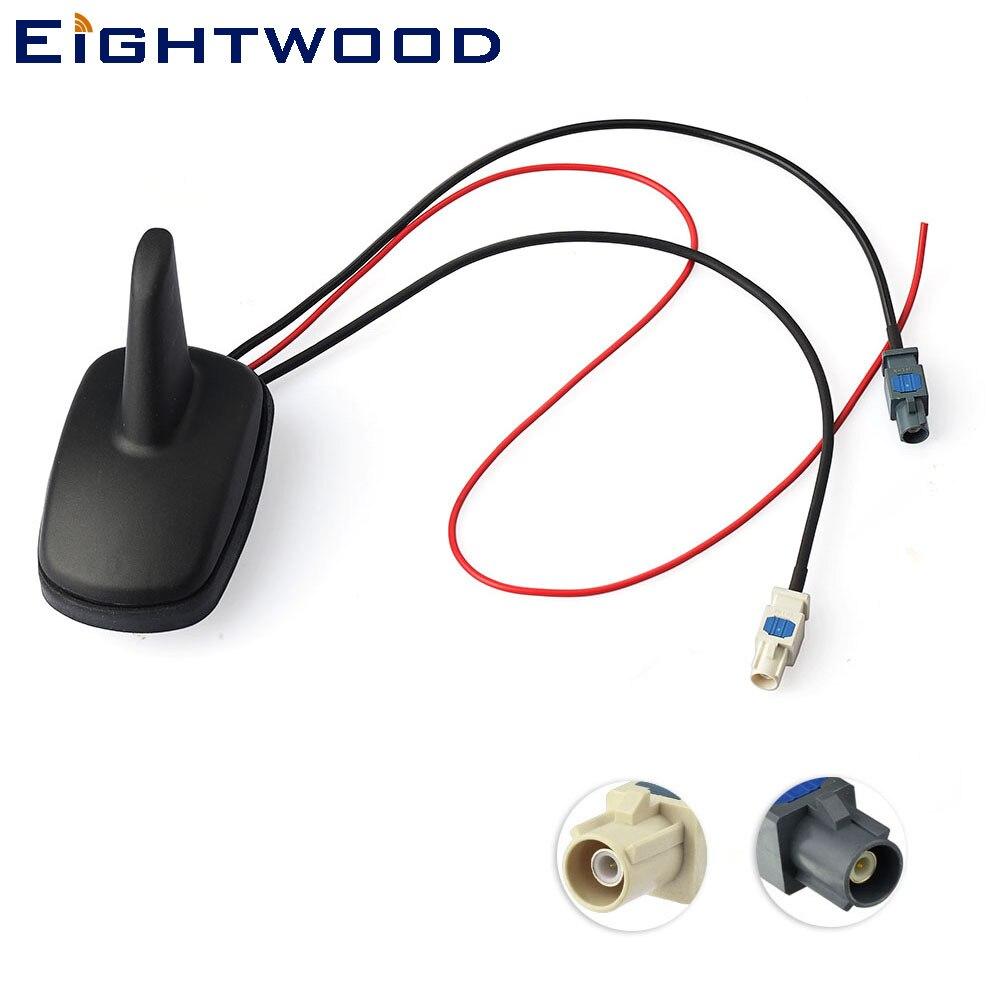 Eightwood DAB+,FM car digital radio/Stereo Amplified Roof mount shrak Aerial FAKRA Connector for Alpine Ezi-DAB