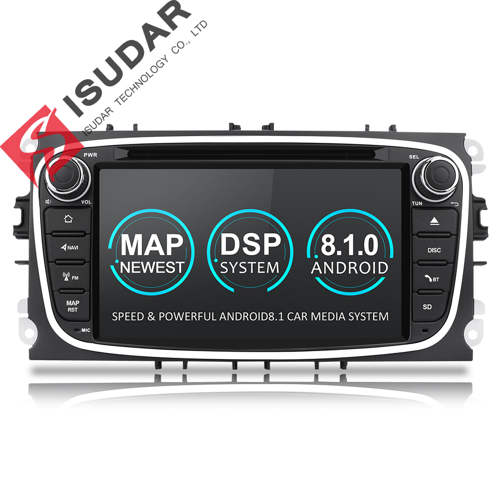 2 Isudar Reprodutor multimídia Carro Android 8.1 GPS Din dvd player do carro para FORD/Focus/S-MAX/Mondeo /C-MAX/Galaxy wifi DSP rádio do carro