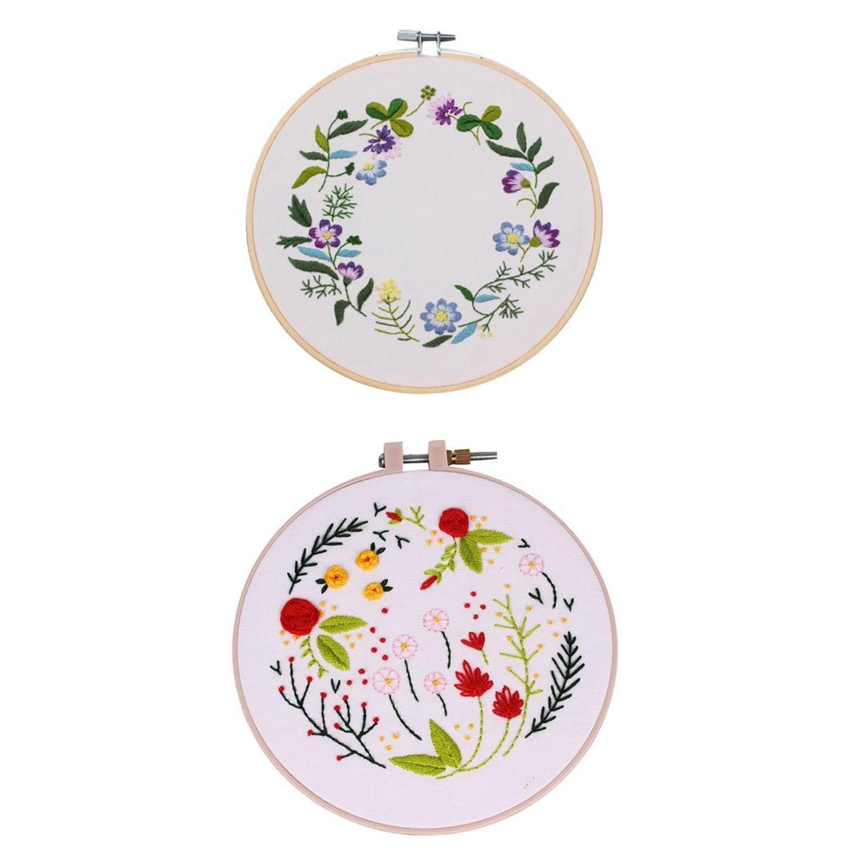 2Pcs Hand Embroidery Cross Stitch Patterns Sampler Kit for Beginners Craft