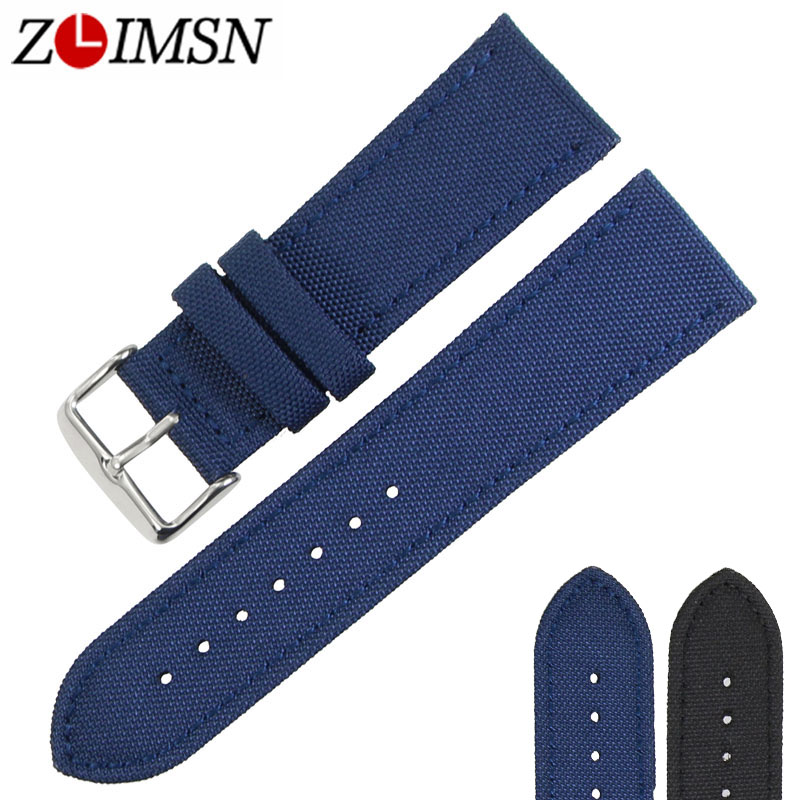 ZLIMSN New belt Nylon Watch Bands Staps Watches Men's Women Black Blue 18mm 20mm 22mm 24mm Watchbands Accessories wristband universal nylon cell phone holster blue black size l