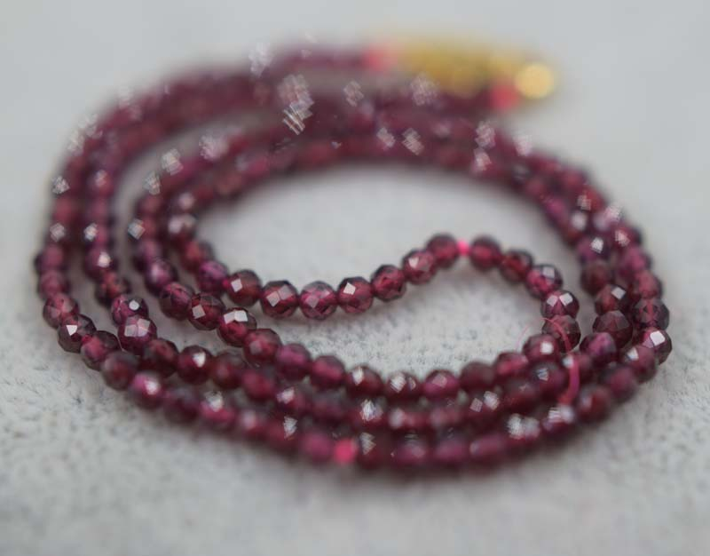 red garnet round faceted necklace 3mm 16.5 chocker inch FPPJ wholesale beads nature blue rabinbow image