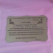 Silver mirror acrylic wedding invitation card scroll shape silk screen letters