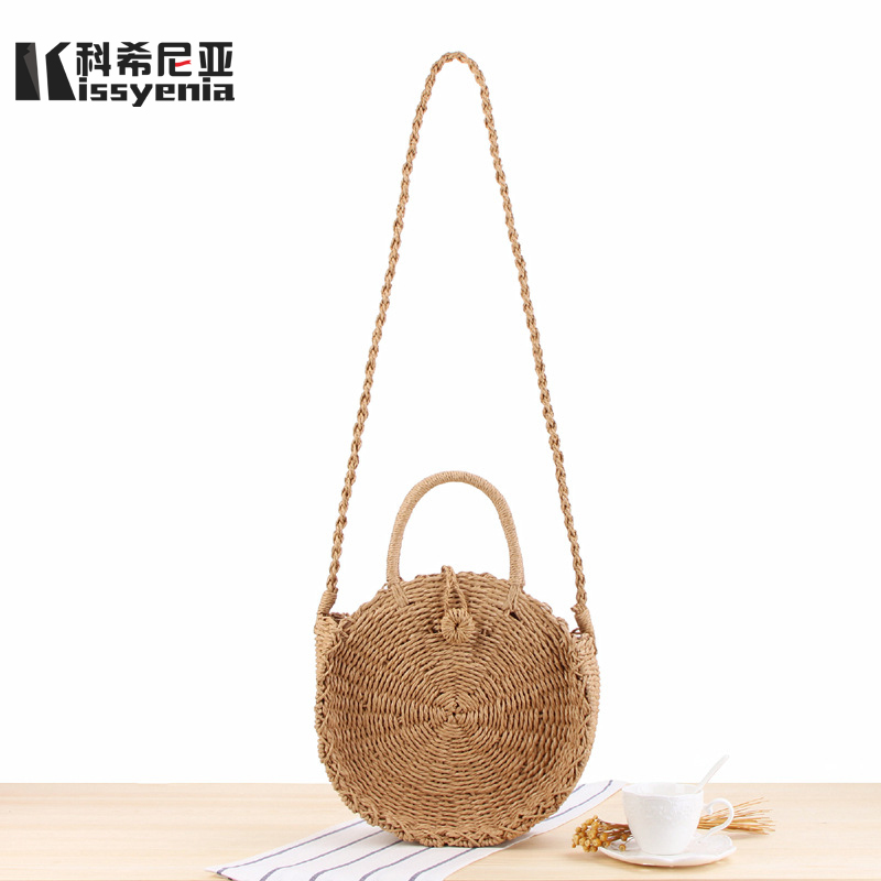 Kissyenia 2018 Hot Handmade Bohemian Beach Bali Bags Summer Vacation Rattan Wicker Bag Woven Women Shoulder Circular Bags KS1123
