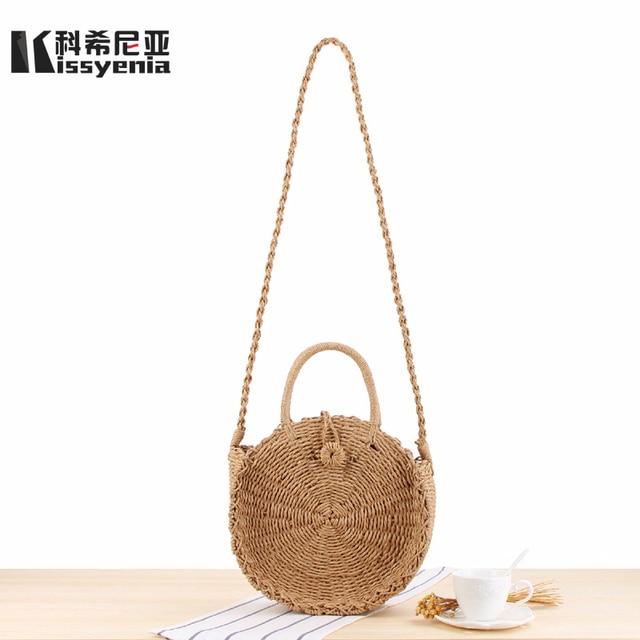 Kissyenia 2018 INS Hot Handmade Bohemian Straw Bag Bali Beach Bags Summer Wicker Bag Woven Rattan Shoulder Bags for Women KS1123