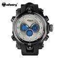 Infantry mens relógio lcd digital sports relógios pulseira de borracha preta de quartzo dual time analógico masculino relógio relojes 2017 exército militar
