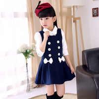 Novo 2015 outono inverno meninas vestido sem mangas meninas adolescentes de algodão lã-como o vestido das crianças dos miúdos vestido estudante vestidl Infanti