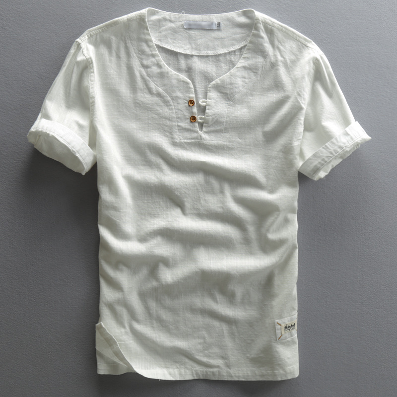 Mens Summer Vintage Cotton Linen Shirts Classic Short Sleeve Solid Color Sleeved Shirt Clothing Pullover 4xl Camisa Masculina Delicious In Taste