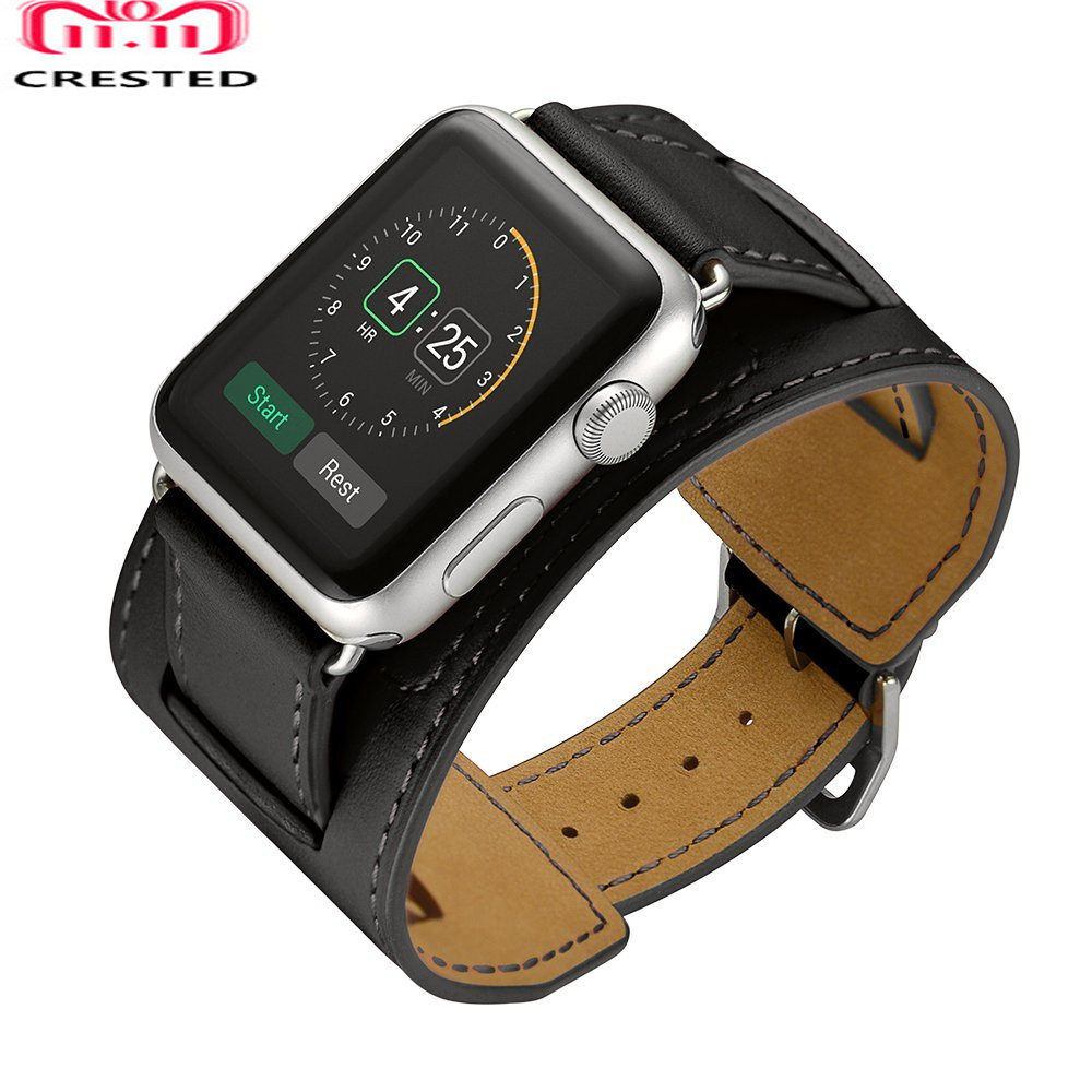 CRESTED Genuine leather strap For apple watch band 42mm38mm iwatch 3 2 1 wrist bands bracelet watchband classic buckle belt