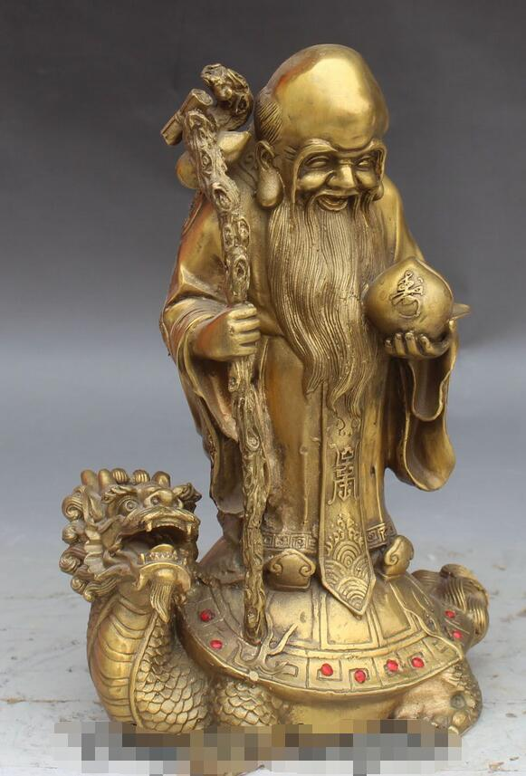 Chinois longue vie Shou Xing Shou dieu Stand Dragon tortue Statue - 2