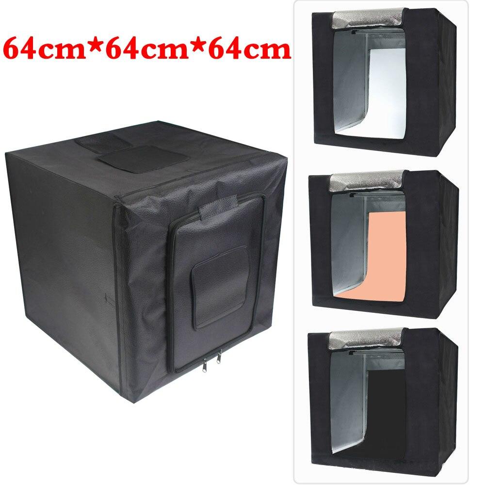 64 cm Portable photographie Softbox tente avec lumière LED toile de fond table de tir Lightbox pour Dslr caméra Photo Studio diffuseur