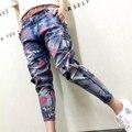 Fashion 2016 Women School Style Zipper Pocket Blue Denim Jeans Cartoon Print Ripped Casual Streetwear Pants Plus Size 26-31