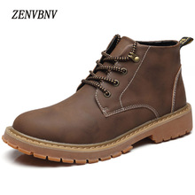 ZENVBNV Brand 2017 New Men's Winter Leather Men Waterproof Rubber Snow Boots Leisure Boots England Retro Shoes For Men
