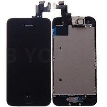 Черный оригинал для iPhone 5S жк-объектив сенсорный экран планшета ассамблеи + фронтальная камера + главная кнопка