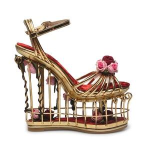 Image 3 - Phoentin gold flower sandals women super high heel 16cm platform wedding shoes ankle strap buckle luxury party shoes woman FT337
